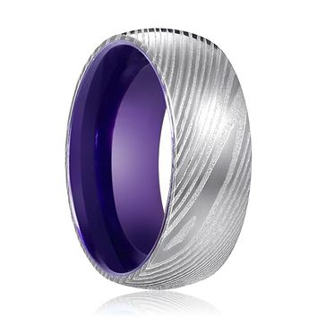 VERBENA Silver Damascus Ring with Purple Inside Aluminum.