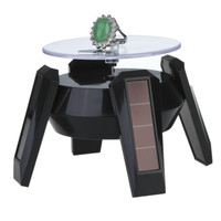 Solar Powered Jewelry Stand Phone Watch Rotating Ring Stand Holder Turn Table with LED Light