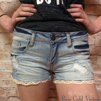 Machine Jeans - Crochet Trim Denim Shorts (Ladies)