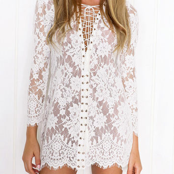White Tie-Up Long Sleeve Sheer Lace Mini Dress