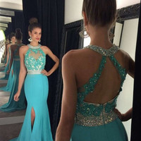 Custom Made A-line Round Neck Open Backless Long Prom Dresses, Formal Dress