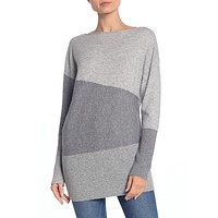Color Block Ribbed Knit Sweater
