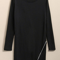 'The Jaida' Side Zipper Hem Long Sleeve Slim T-shirt