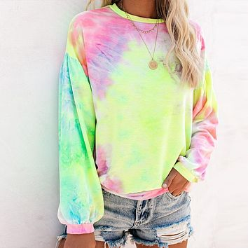 2020 New Products Women's Round Neck Lantern Long Sleeve Tie-Dye T-Shirt Top