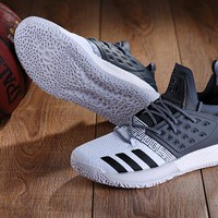 KUYOU A151 Adidas James Harden Vol.2 Boost Training Basketball Shoes White Grey