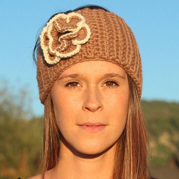 Hand Knit Headband with Flower