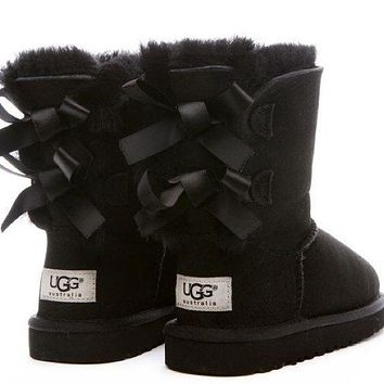 UGG:: bow leather boots boots in tube-6