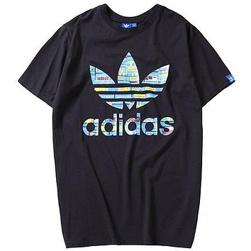 ADIDAS Clover Men's Casual Breathable Sports Wild Round Neck Top T-Shirt Black