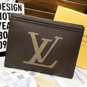 LV Louis Vuitton New fashion letter leather couple clutch bag file package cosmetic bag handbag