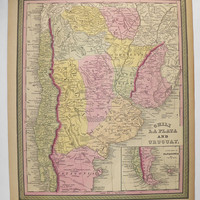 1852 Mitchell Map South America, Chili Map Argentina La Plata Map Uruguay, 1st Anniversary Gift for Couple, Gift for Graduate, Vintage Map