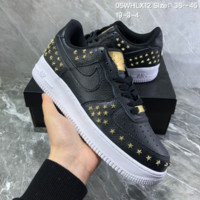 HCXX N825 Nike Air Force 1 Stars Pack Leather Rivet Low Casual Skate Shoes Black