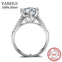 YANHUI Luxury Big 10mm Stone Zirconia Jewelry Rings For Women Pure 925 Solid Silver Bride Classic Wedding Engagement Ring JZ039