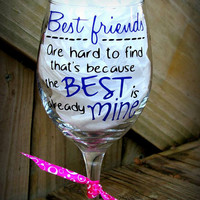 Best Friend Wineglass Gift, Personalized gift with Best friends names, Gift for a best friend, Bff Gift, Missing you gift, Unique gift