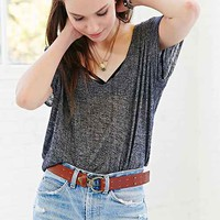 Ecote Perforated Leather Latch Belt- Brown