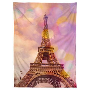 Eiffel Tower Sunset Hanging Wall Tapestry, Home Decor, Dorm, Paris, French Decor, Photography, Pink Wall Hanging, Headboard Tapestry, Bokeh