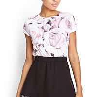 FOREVER 21 Seamless Rose Print Tee Wine/Pink