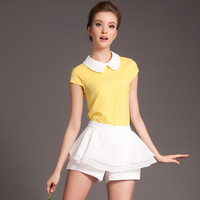 Peter Pan Collar Short Sleeve Top with Pleated Skirt Shorts Set