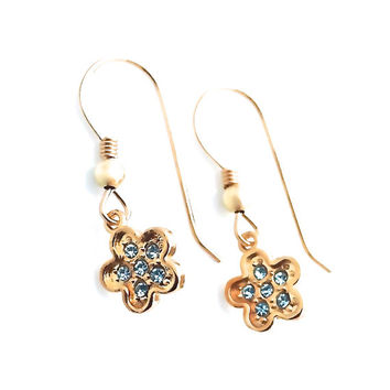 Gold Flower Earring, Light Blue, Swarovski Crystal, Small, Girly, Cute, Easter Earrings, Gift, Aquamarine Jewelry