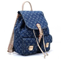 Louis vuitton fashionable casual lady backpacks are hot sellers of denim printed backpacks #3