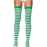 Kelly Green & White Nylon Striped Costume Thigh High Stockings Adult (Size: One Size) : Galaxor Store, A mega store featuring Halloween or cosplay costumes, gaming accessories, electronics, and much more!