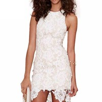 LUCLUC White Cut Out Lace Sleeveless High low Dress - LUCLUC