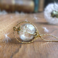 Dandelion necklace, wishes in a bottle glass ball necklace, symbolic romantic jewelry, nature wedding bridesmaid gift