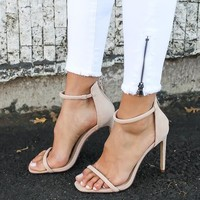 Ava Ankle Strap Heel - Nude