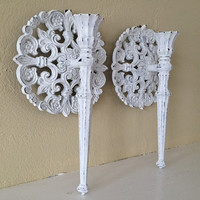 Vintage Homco wall candles sconces, distressed white