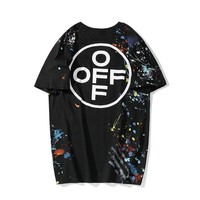 OFF-WHITE Casual Wild Color Splash Cotton Short Sleeve T-Shirt