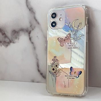 Pastel Line Art Collage Clear Phone Case