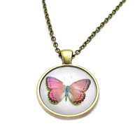 Pink Butterfly Necklace, Pink Monarch Cabochon, Charm Necklace, Picture Necklace, Picture Jewelry, Photo Necklace, Butterfly Jewelry