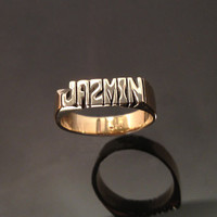 Hand carved name ( initial ) ring ( Brass ) personalized ring