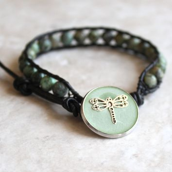 African turquoise, leather wrap bracelet with dragonfly button closure