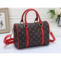 LV Fashion Collision Full Printed Male and Female Travel Home Baggage Red