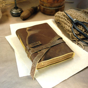 "Worn Leather Journal, Pocket Notebook with Vintage Paper - Rustic Country Side Leather Journal, Brown Cover - ""A Little Secret"""