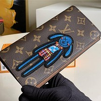 Louis Vuitton LV High Quality Fashion Leather Embroidery Purse Wallet