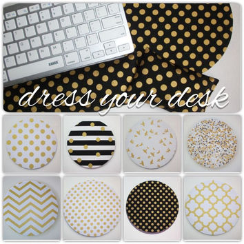 metallic gold desk set - mouse pad, keyboard rest, and mouse wrist rest - Pick your own pattern - mousepad set coworker gift Desk cubical Accessories