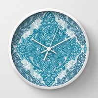 Teal & White Lace Pencil Doodle Wall Clock by Micklyn