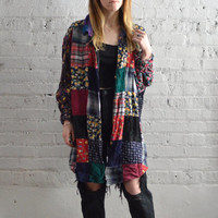 Oversized Floral Patchwork Button Up - L