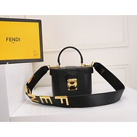 FENDI WOMEN'S LEATHER BOX HANDBAG INCLINED SHOULDER BAG