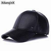 Trendy Winter Jacket Adjustable Size Men's Hat Winter New Style PU Warm Baseball Cap With Ears Thicken Brand Earmuffs Caps Snapback Sombrero Dad Hats AT_92_12