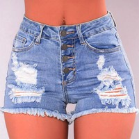 Women Slim Washed Ripped Hole Short Mini Jeans Denim Sexy Pants Shorts