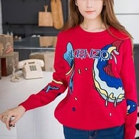 Casual Red Fish Embroidery Sweet Pullover