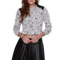 Nollie Leather Shoulder Cropped Sweater at PacSun.com
