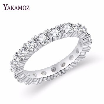 2019 Luxury Brand Jewelry White  Color Inlay Cubic Zirconia Unique Shaped Ring for Women Wedding Engagement Size