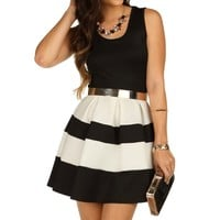 White Sleeveless Skater Stripe Dress