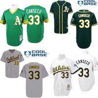 White green Throwback Jose Canseco Authentic Jersey , Men's #33 Mitchell And Ness oakland Athletics