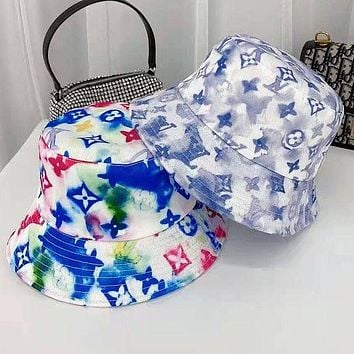 LV Louis Vuitton painting graffiti embroidery color fisherman's basin hat men and women sun protection hat