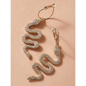 1pair Rhinestone Engraved Serpentine Hoop Drop Earrings