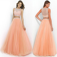 Sparkly Beaded Two Piece Prom Dresses Long Girls Tulle Orange Prom Dress Crystals Coral Prom Gowns Women Prom Party Dresses RT70